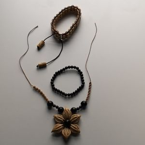 Tropical Nut Flower Necklace and Bamboo Bracelet
